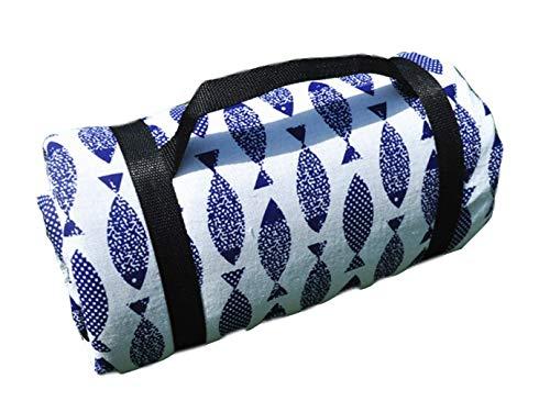 X-Labor Bohemian Picknick Decke 200x150 cm XXL Baumwolle Leinen mit wasserdichter PEVA Unterseite Wärmeisoliert Stranddecke Campingdecke Motiv-J