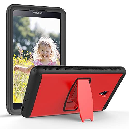 LGQ Funda Protectora Tab E 8.0', Adecuada para Samsung Galaxy Tab E 8.0' 2016 (Modelo: Sm-t377 / T375) Funda De Tableta Resistente De Silicona Híbrida De Cuerpo Completo A Prueba De Golpes,Rojo