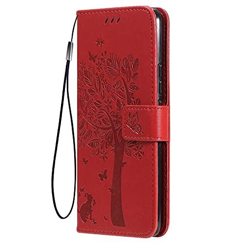 KERUN Hülle für Xiaomi Mi 10T Lite 5G Flip Lederhülle, 3D Katze Geprägte Prägung Handyhülle, Premium Leder Brieftasche Handytasche Schutzhülle mit Kartenfach Standfunktion. Rot