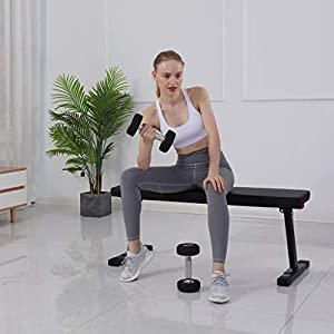 Busydd Exercise Bench,Versatile Flat Bench Workout Utility Bench Capacity Sit Up Bench Weight Training Folding Bench for Home