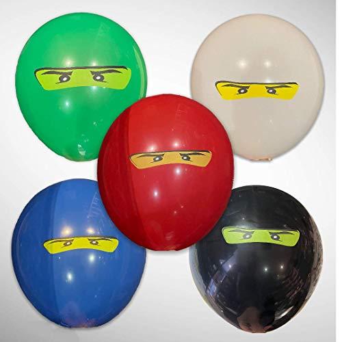 NINJA Banner, globos de látex y papel de aluminio para fiestas, perfectos para rellenar bolsas de fiesta, regalos, botín, suministros (15 globos de látex)