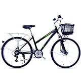 LIXIGB Bicicleta Commuter Confort, 26 Pulgadas Hyde Park 21 velocidades, Aluminio Ligero para Mujer/Hombre,Verde,21 Speed 26inch