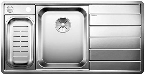BLANCO AXIS III 6 S-IF Dampfgar-Edition, Küchenspüle, Becken links, mit Schneidbrett, Schale, Carrier, InFino-Ablaufsystem und Ablauffernbedienung, Edelstahl Seidenglanz; 522109,