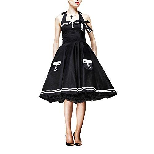 Hell Bunny – Motley Maritim Rockabilly Vestido (Negro) (XS – XL) negro X-Small