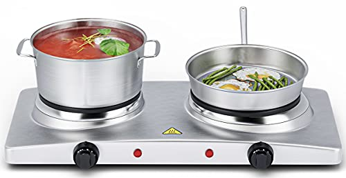 Simoe Electric Hot Plate, 1800W Double Burner, Dual Cast Iron Burner, Portable Double Burner for Cooking