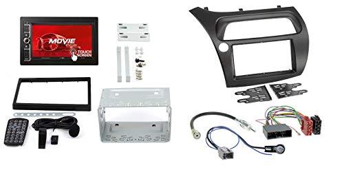 Honda Civic 8 06-12 2-DIN Autoradio 6,2' Touchscreen e set di montaggio in qualità originale Plug & Play con adattatore antenna cavo di collegamento radio accessori e mascherina radio telaio nero