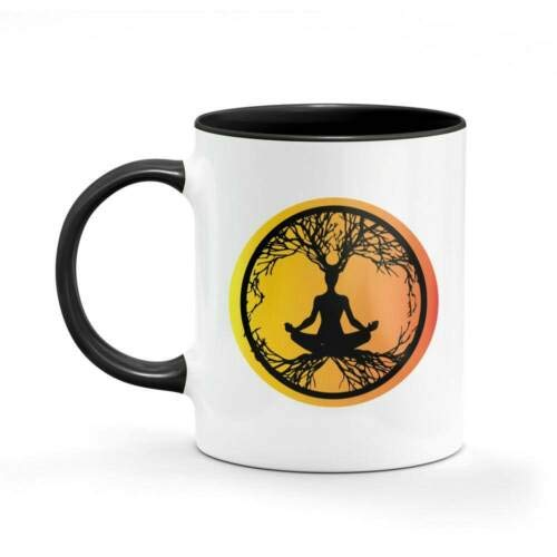 11Oz Funny Ceramic Mug- Yoga Tree Of Life Hippie Mug Dad Mum Funny Coffee Gifts Cups, Unique Ceramic Novelty Gift For Women Men White Mug