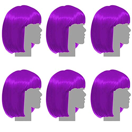 Sterling James Co. 6 Pack Purple Party Wigs - - Mardi Gras Wig Pack - Bachelorette Party Favors, Supplies, and Decorations