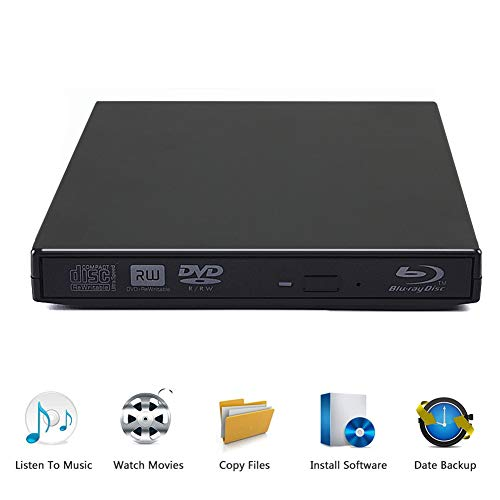 External Blu Ray Drive, USB 2.0 CD DVD Portable Burner Slim Disk Player Writer Reader for Windows XP/7/8/10, MacOS, Linux for Notebook MacBook, Laptop, Desktop (Black)