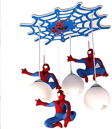 LED creatieve kinderkamer Plafondlicht Cartoon Spider-Man design hanglamp Glazen kap met 3 vlammen kroonluchter Cartoon jongen slaapkamer verlichting LED lamp Spanning 220V