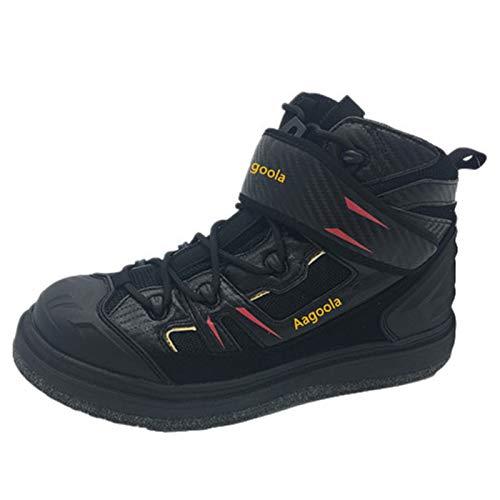 Zapatos De Pesca, Hombres Wader Fieltro Botas Suela Transpirable Secado Rápido Antideslizante Picos Al Aire Libre Zapatos De Agua,Negro,43EU