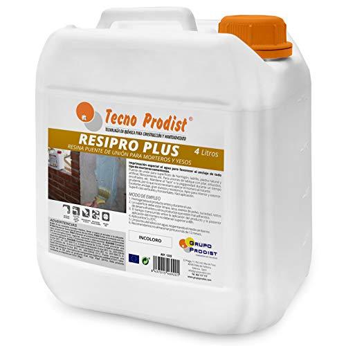 RESIPRO PLUS de Tecno Prodist - (4 Litros) Resina puente de unión, adhesivo al agua, gran adherencia entre hormigones, morteros y yesos viejos con nuevos - Ideal para reparación de cornisas