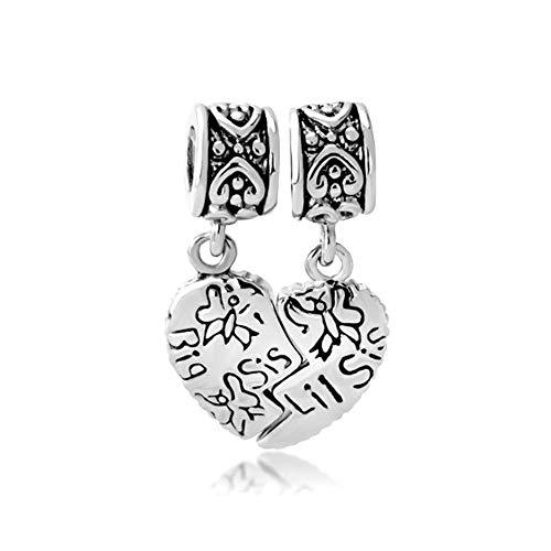 PoeticCharms Schwester Sister Herz Liebe große Sis & Lil Sis 925 Sterling Silber Puzzle Charm für Armbänder