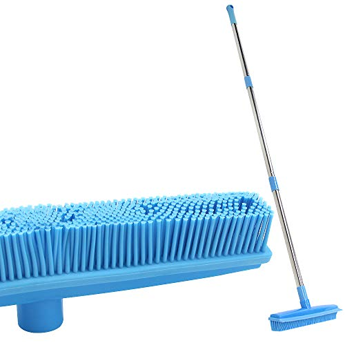 LandHope Carpet Rake Long Handle Pet Dog Hair Rubber Broom Squeegee Fur Remover Broom Carpet Brush 51 inches Indoor Outdoor Push Broom Car Floor Cleaning Non Scratch Bristles Rug Rake Sweeper(Blue)