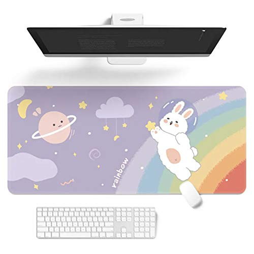 Kawaii Desk Mat,Cute Mouse Pad,Large Gaming Desk Mouse mat Cartoons Keyboard Pad,Laptop Desk Mat for Gaming Writing Home Office Work (H,32 x 12 in)