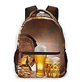 Mochila, barril de madera, licor, taza de cerveza retro, rebosante de trigo maduro, barril de cerveza, grifo de agua, humor, naturaleza, todas las estaciones, unisex, de gran capacidad, duradero, par