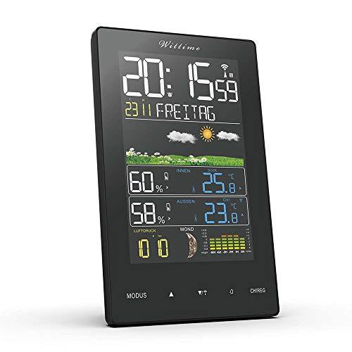 Wittime 2078A Funkwetterstation mit Farbdisplay und Außensensor Innen- und Außentemperaturanzeige, DCF-Funkuhr Multifunktionale Funkwetterstation Thermometer Hygrometer(Vertikal/Deutsche)