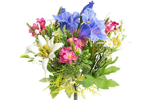 Floratexx künstlicher Edelweiß-Enzian-Alpenrosenstrauß mit 7 Stielen
