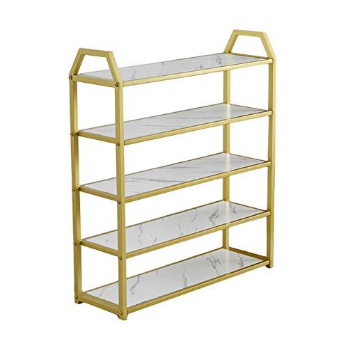 LYLY Zapatero dorado multicapa con textura de mármol, soporte de madera maciza, organizador para zapatero de entrada, armario, zapatero (color: 5 niveles, tamaño: 50 cm)