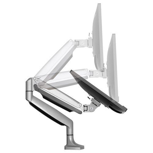 "Elegant Aluminum Monitor Stand Gas Spring Desk Monitor Mount for 13""-32"" Computer Monitor TV Screens Full Motion Swivel LED LCD Arm Heavy Duty Holds 13"" to 32"" Screens, Up to 9 kg, VESA 75x75 or 100x100 mm"