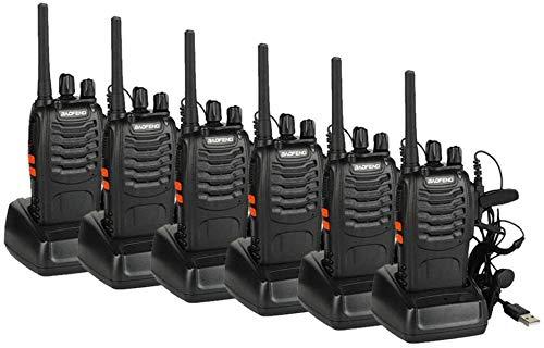 IMURZ Talkie Walkie Longue Distance Two Way Radio USB Rechargeables avec des en Torche LED Profession Randonnée Loisir Camp (6 pcs)