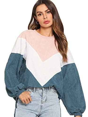 Romwe Women's Loose Colorblock Sweatshirt Lantern Sleeve Round Neck Pullover Tops Blue M