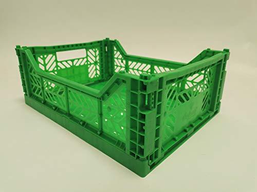 Ay-Kasa stabile Faltkiste aus Kunststoff, stapelbar, grün, Midi (40x30x14cm) - 5 Stück