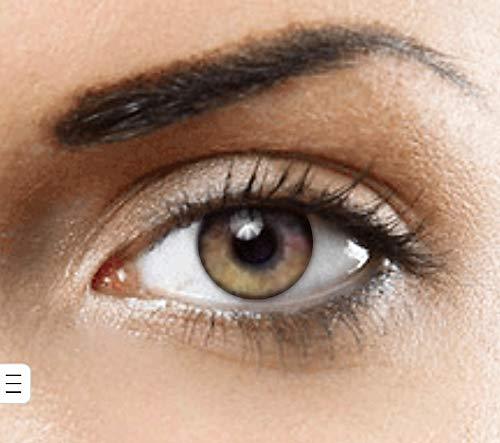 PHANTASY Eyes® HOLLYWOOD Farbige Kontaktlinsen natürliche (PURE HAZEL) ohne Stärke,1 paar, (2 Stücke) Jahreslinsen + gratis Kontaktlinsenbehälter