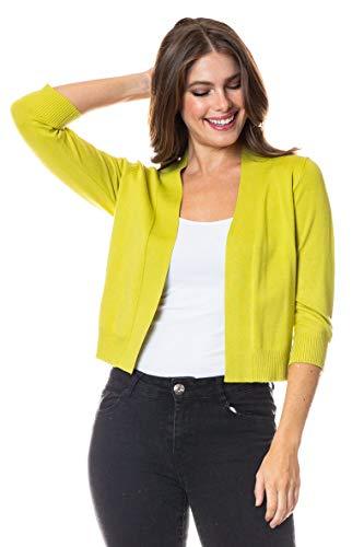 The Lovely Women 3/4 Sleeve Solid Open Bolero Shrug (Lime, Medium)