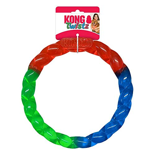 KONG Twistz Ring Dog Toy Large Red Green Blue