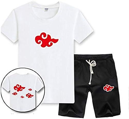 GHMM T-Shirt Manches Courtes Naruto Xiao Organization pour Homme Naruto Student Ensemble été (Couleur   blanc B, Taille   XL)