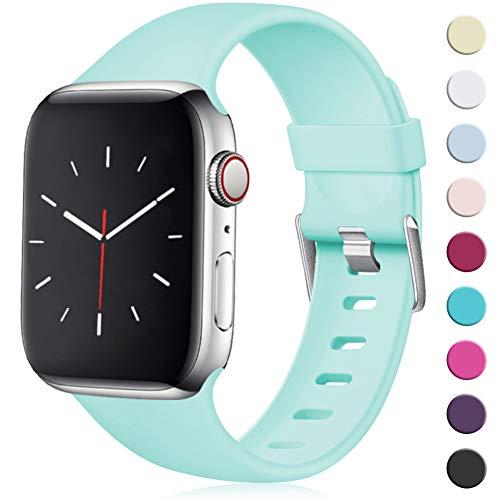 Maledan Compatibile per Cinturino Apple Watch 44mm 42mm, [Classica Fibbia] Morbido Cinghia di Ricambio Regolabile in TPU per Apple Watch Series 5/4/3/2/1 M/L Mare Blu