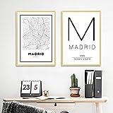 Madrid España Mapa Carteles e impresiones Arte de la pared Minimalismo moderno Lienzo Pintura Madrid Tipografía Cuadro Living Decor 19.6'x 29.5' (50x75cm) x2 Sin marco