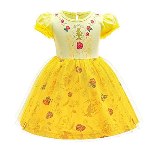 Lito Angels Disfraz de Princesa Bella y la Bestia para Bebe Niña, Vestido de Tul de Fiesta de Cumpleaños de Verano Ropa Casual Amarillo, Talla 12-18 meses