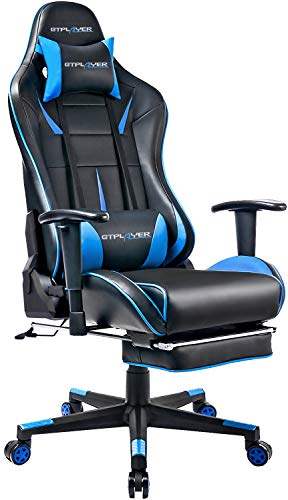 GTPLAYER Gaming Stuhl Bürostuhl Schreibtischstuhl Kunstleder Gamer Stuhl Drehstuhl höhenverstellbarer PC Stuhl Ergonomisches Design mit Fußstütze und Wippfunktion (Blue)