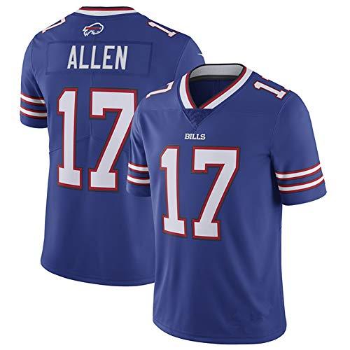 American Football Trikot Allen 17# Bills, Stickerei Training Rugby Trikot, Sport Kurzarm T-Shirt mit V-Ausschnitt-Blue-L(180~185)
