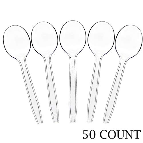 Plasticpro Clear Plastic Soup Spoons Disposable Cutlery Utensils 50 Count
