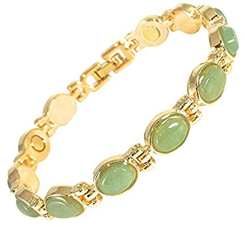Ladies Magnetic Therapy Bracelet for Women | Jade Aventurine Semi Precious Crystal Gemstones - Natural Pain Relief Arthritis & Joint Stiffness - Presented in a Gift Box