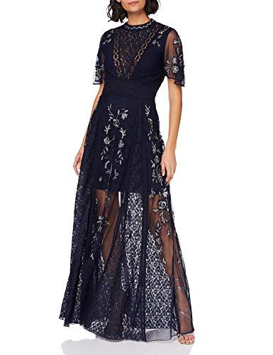 Frock and Frill Damen Farfalla Embellished Maxi Dress Formales Abendkleid, Navy, Medium