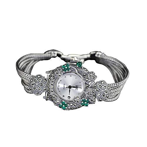 Jade Angel 925 plata trigo cadena mujer reloj 925 plata esterlina Tailandia estilo vintage pavimentar síntesis verde ónix marcasita reloj señoras joyería fina