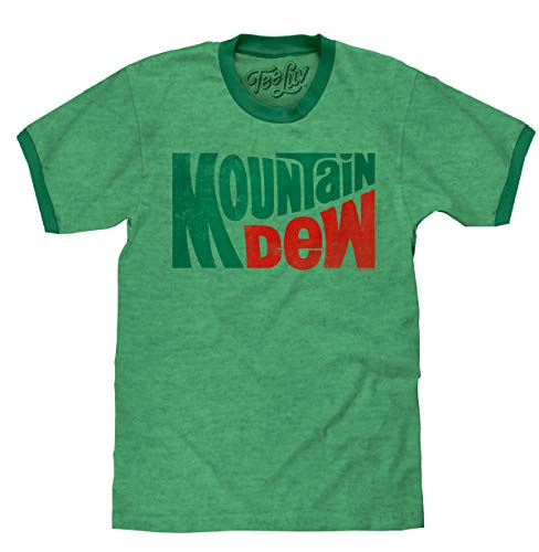 Tee Luv Mountain Dew T-Shirt - Vintage MT Dew Ringer Tee Shirt (Small)  Green Heather/Kelly