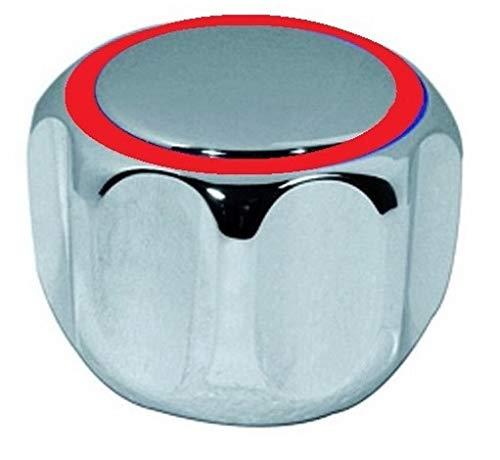 TLDSHOP® - Perilla cromada para grifos - Kit de manilla de repuesto con placa - inserción 20-24 - 1 unidad - color placa: rojo.