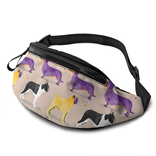 Unisex Casual Waist Bag Dogs in The Park Grey Cream Purple Yellow Pug Dachshund Boston Terrier Sausage Dog Spots Fanny Pack Money Bum Bag with Adjustable Belt for Running Sports Climbing Travel