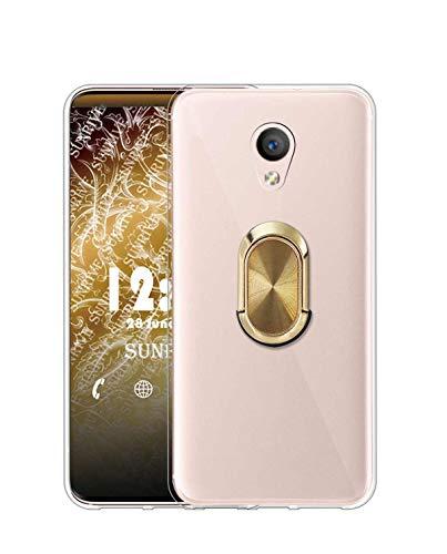 Sunrive Funda para Meizu M5 Note, Silicona Transparente Gel Carcasa Case Bumper Anti-Arañazos Espalda Cover Anillo Kickstand 360 Grados Giratorio(A4 Dorado) + 1 x Lápiz óptico