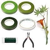 YEYIT Herramientas Para Arreglos Florales de Seis Piezas,Cinta de Corte de Alambre de Acero y Papel de Regalo, 22 Especificaciones Línea de Pedúnculo de 0,7 mm, Adhesivo de Doble Cara Verde
