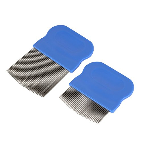 Ezy Dose Kids Lice and Eggs Comb | Hair Care for Baby Toddler Adult | Stainless Steel Pin Teeth | Pack of 2 Short/Long