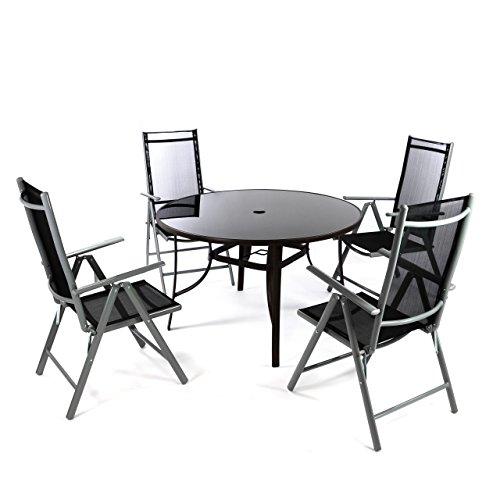 Nexos 5-teiliges Gartenmöbel-Set – Gartengarnitur Sitzgruppe Sitzgarnitur aus Klapplstühlen & Esstisch rund – Aluminium Kunststoff Glas – braun/schwarz