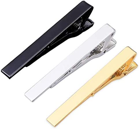3 Pcs Classic Tie Bar Clips Tie Pins 2 2 Inch Metal Pinch Clip for Men Gold Silver Black product image