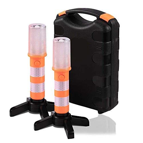 Namotu LED Warnleuchte Set,2 Pack Auto Warnblinkleuchte Orange mit Fuß und Ständer