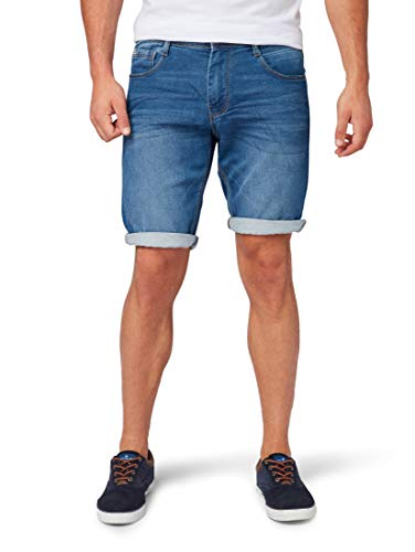 TOM TAILOR Herren Jeanshosen Josh Regular Slim Bermuda Shorts mid Stone wash Denim,33